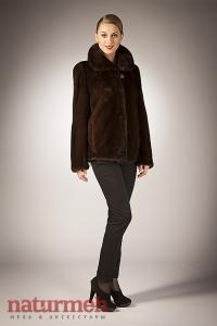 Норковая куртка, воротник-стройка