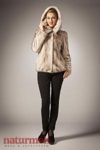 Куртка из норки цвета колотый лед