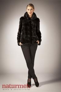 Поперечная норковая куртка, воротник стойка
