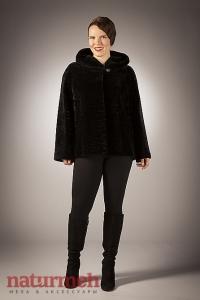 Мутоновая куртка с капюшоном