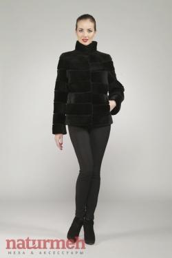 Куртка из меха бобра, поперечка, с воротником