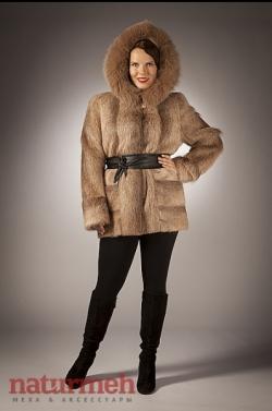 """Куртка из нутрии редкого оттенка пастель, капюшон песец Производитель """"СимонА""""  ИП Симахов С.Г."""